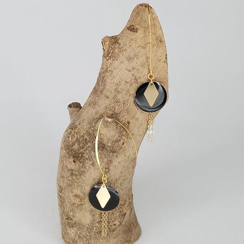 Boucles D'oreilles longues sequins ronds émaillés noir