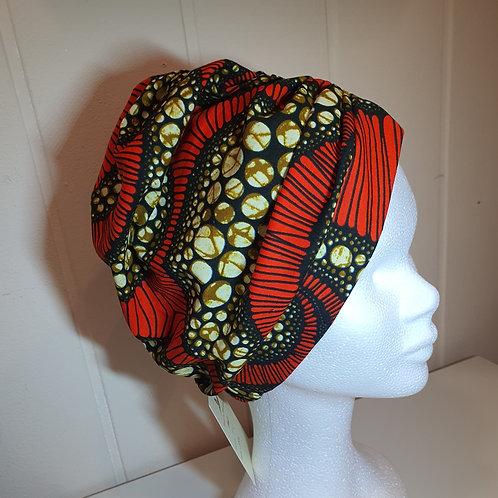 Bandeau turban bleu et rose en wax