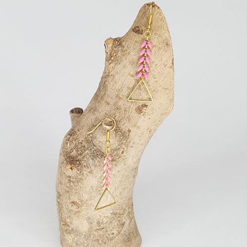 Boucles D'oreilles, épis émaillés rose, triangles en laiton