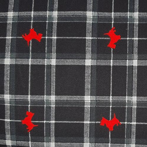 Tissus coton noir a carreau scottishs rouges