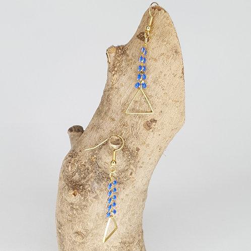 Boucles D'oreilles, épis émaillés bleu, triangles en laiton