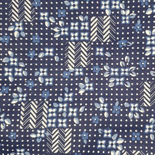 Coton bleu poids fleurs cheron blanc