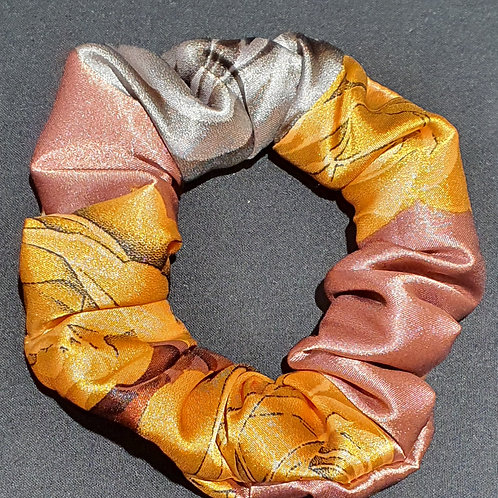 Chouchou en satin orange gris rose