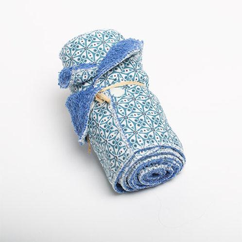 5 Essuie-tout lavables bleu fleurs