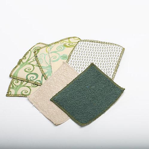7 Lingettes coton démaquillant lavable mix de vert