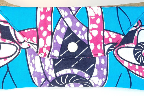 pochette en wax bleu rose et violet