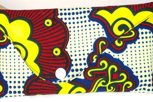 pochette en wax jaune et bleu