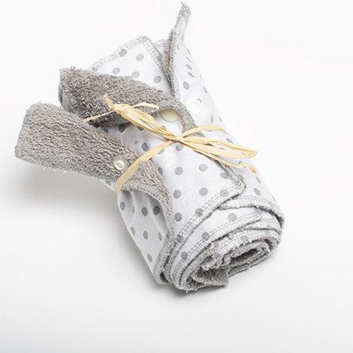 5 Essuie-tout lavables Blanc et poids gris