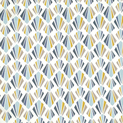 Tissus coton éventail bleu moutarde