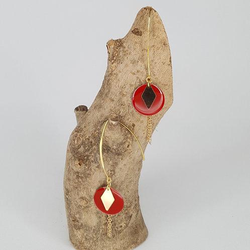 Boucles D'oreilles longues sequins ronds émaillés rouge