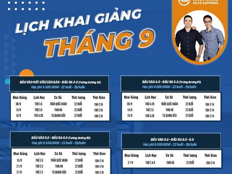 LỊCH KHAI GIẢNG LỚP IELTS THÁNG 9/2020 TẠI HÀ PHONG IELTS