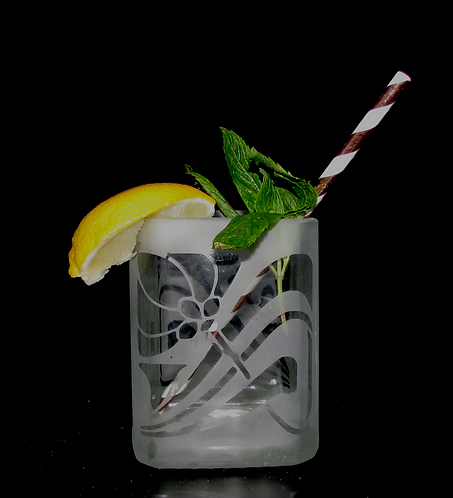 Art Deco Flower Cocktail Glass, Clear