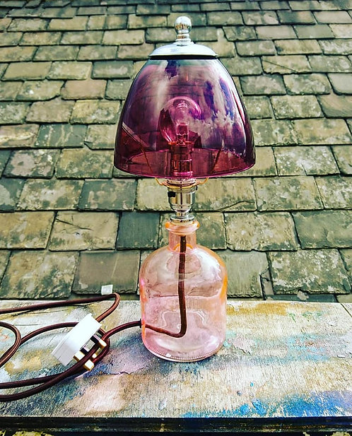 Pink and Purple bottle table lamp