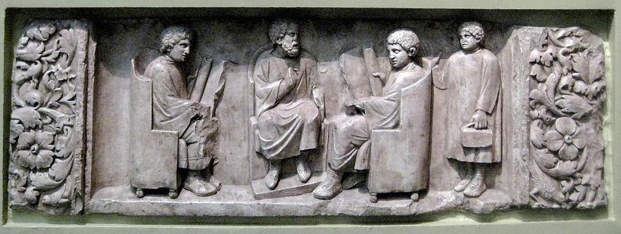 Neumagen-relief 200ad stone teacher pupi