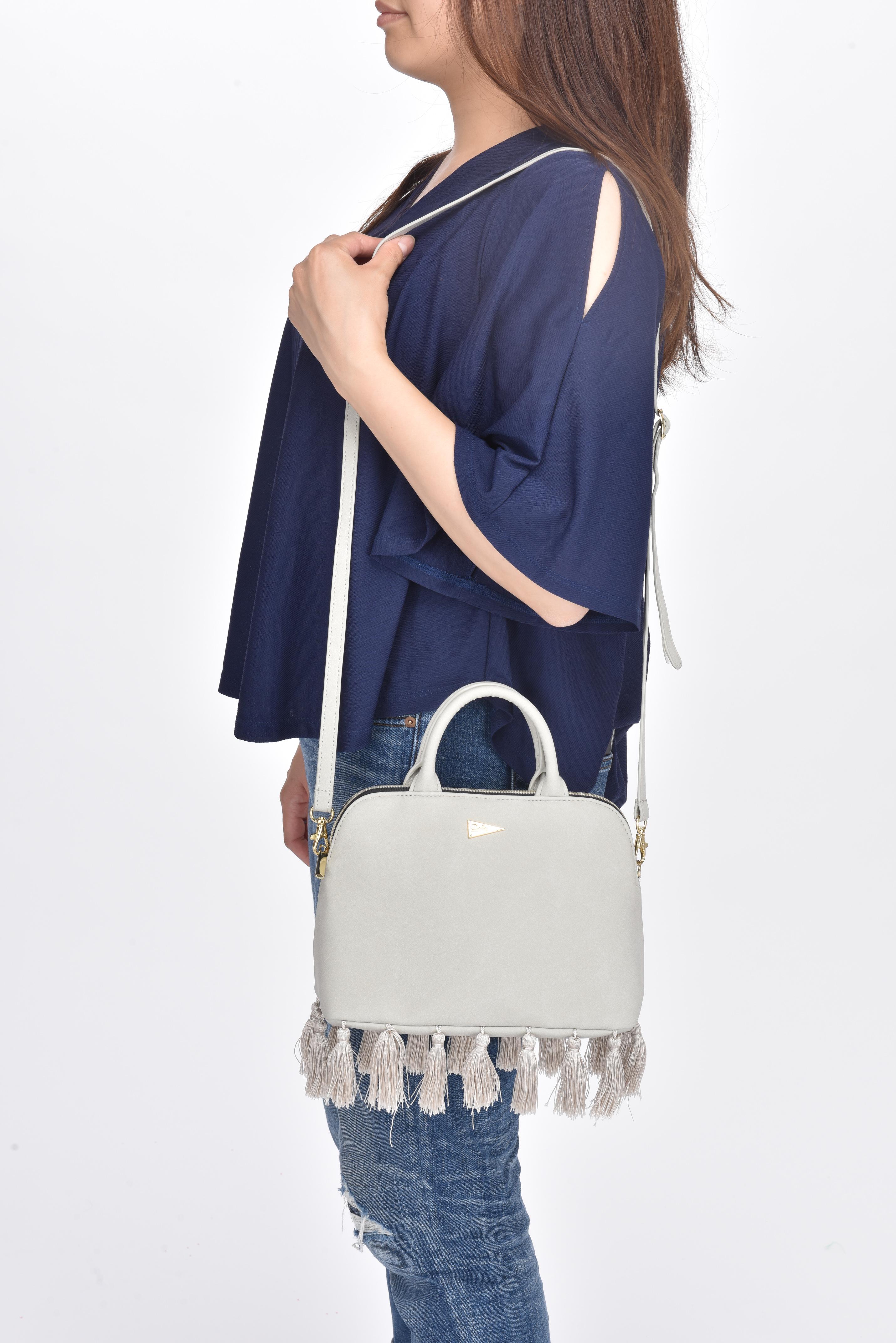 Tassel Shoulder Bag(Gray/Black)