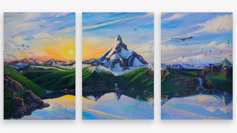 Eagle Mountain 3 Panel Piece Canvas Print