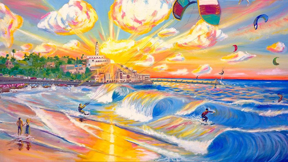 Sunset over the Mediteranian. Tel-Aviv Jaffo. Israel. Canvas Print