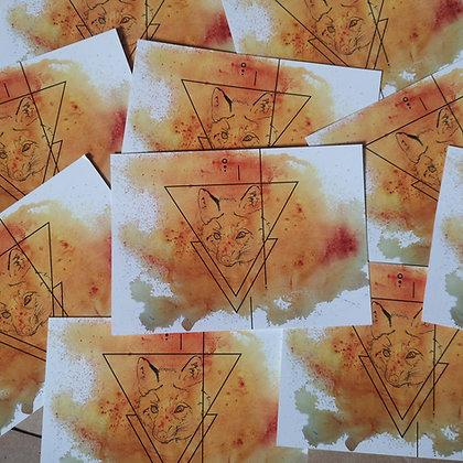 Orange Fox Postcard LD