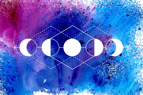 Pink and Blue Moon Phase - Print