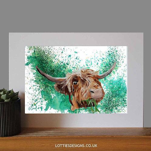 Highland Cow Green - Print