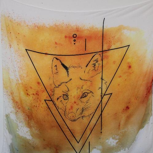 Orange Watercolour Fox Scarf