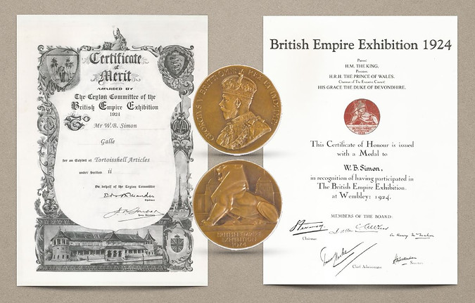 Certificates and Medal received by D.T. Weerasiri at the British Empire Exhibition, Wembley (1924)