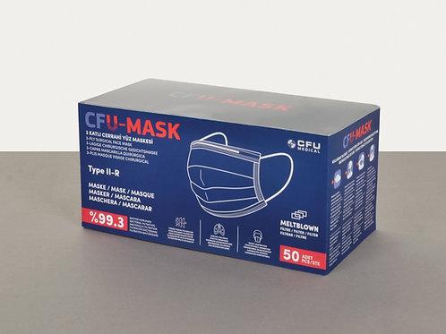 150 Adet Cerrahi Yüz Maskesi Tip II-R, 50'lik 3 Kutu