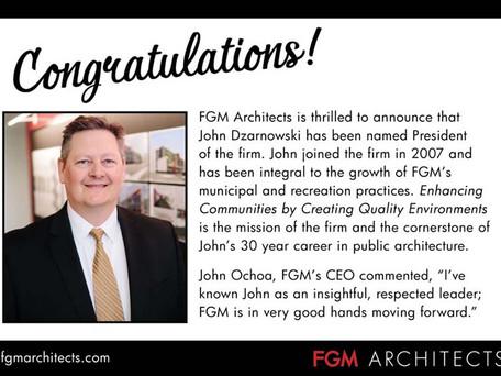 John Dzarnowski Named President of FGM Architects