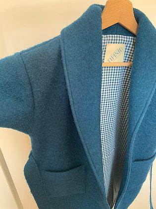 Robe de chambre enfant bleue et doublure à carreaux bleus