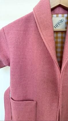 Robe de chambre enfant rose et doublure à carreaux jaunes