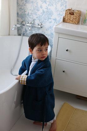 Robe de chambre enfant bleue et doublure à carreaux jaunes