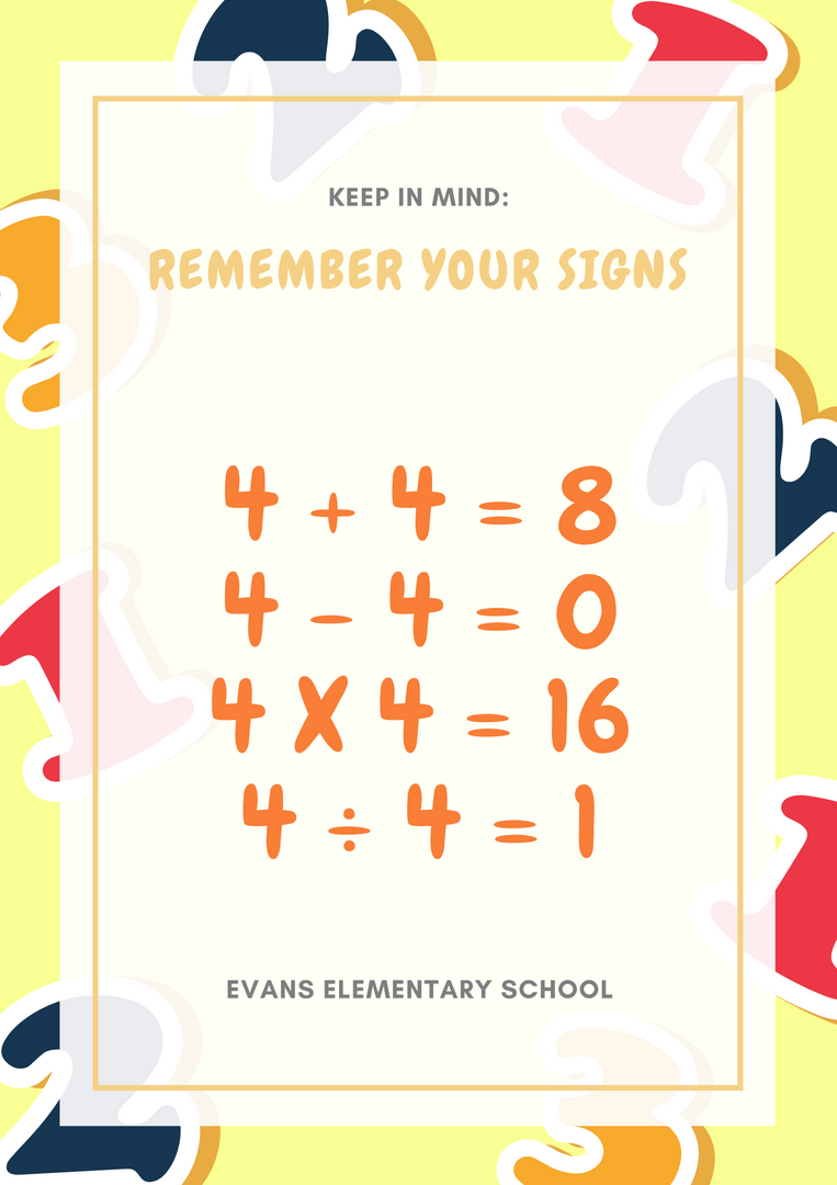 Yellow and Orange Math Signs Classroom Poster