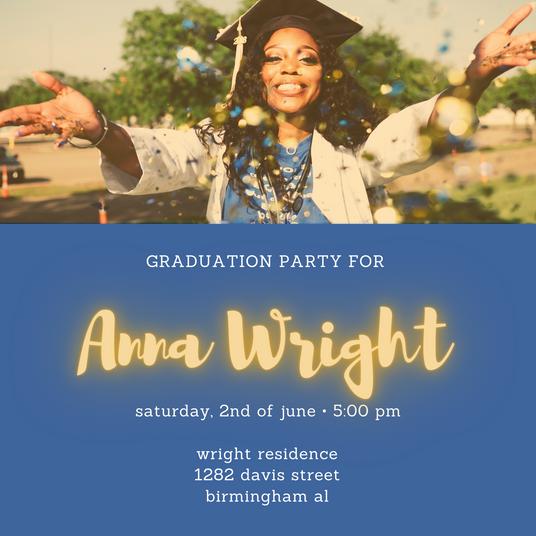 Neon Accented Graduation Party Invitatio