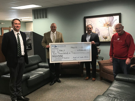 Bank of Lake Mills, $10,000 Donation to COVID-19 Relief Fund