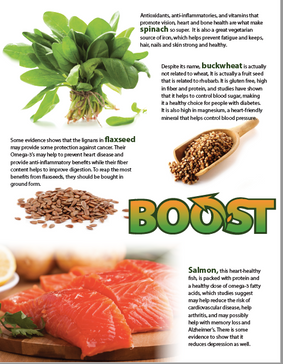 Sample flyer for four of the featured superfoods