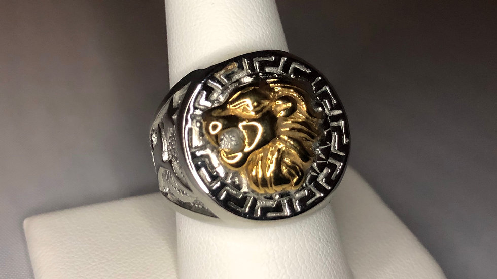Two-Toned Lion Coin Ring