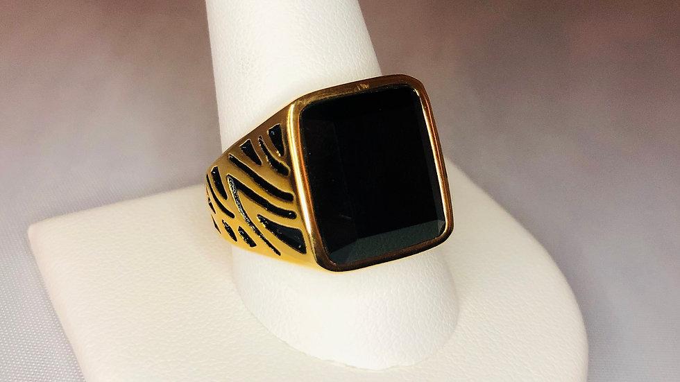 Gold Zebra Stone Ring