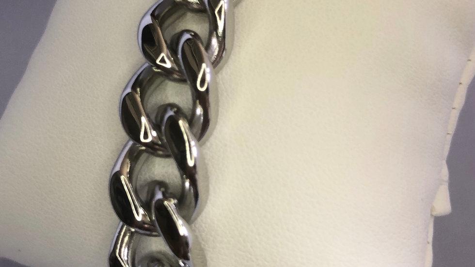 Thick Silver Cuban Link Bracelet