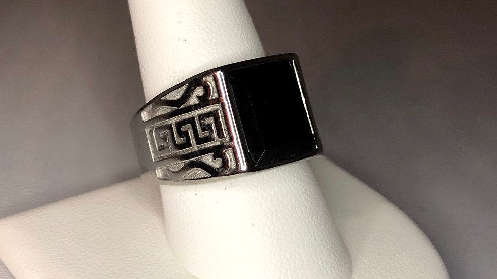 Silver Aztec Stone Ring