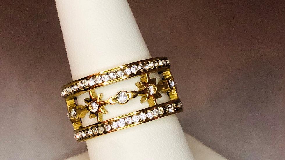 Gold North Star Band Ring