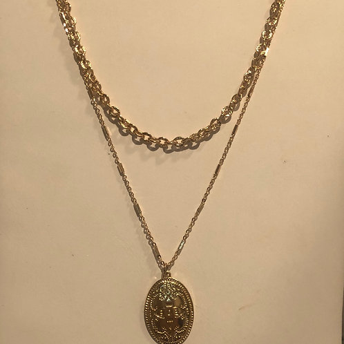 Golden Pendant Layerd Necklace