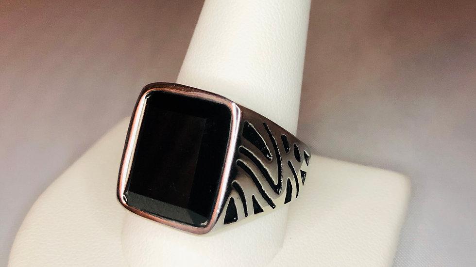 Silver Zebra Stone Ring