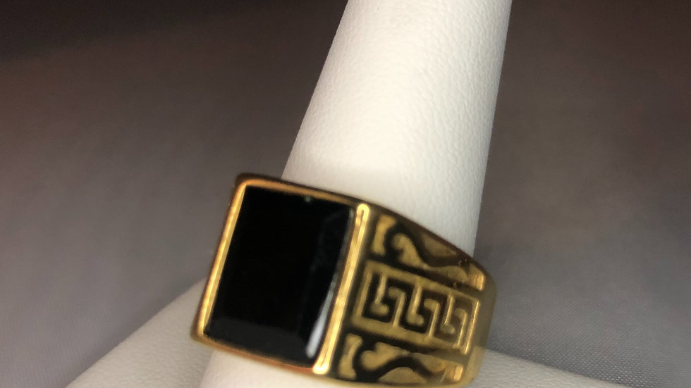 Gold Aztec Stone Ring