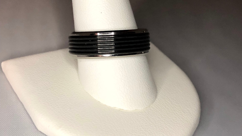 Silver & Black Band Ring