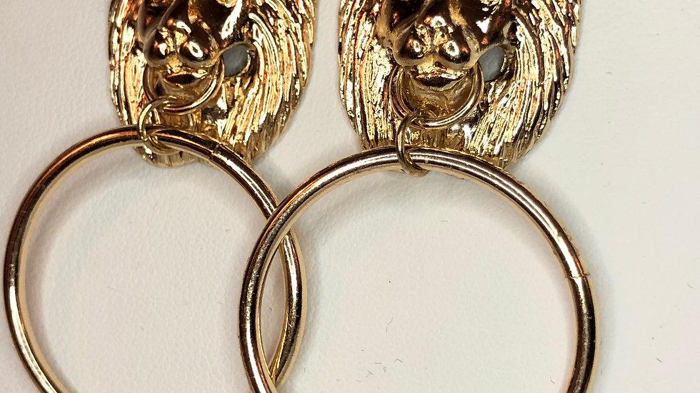 Gold Lion Drop Hoop Earrings