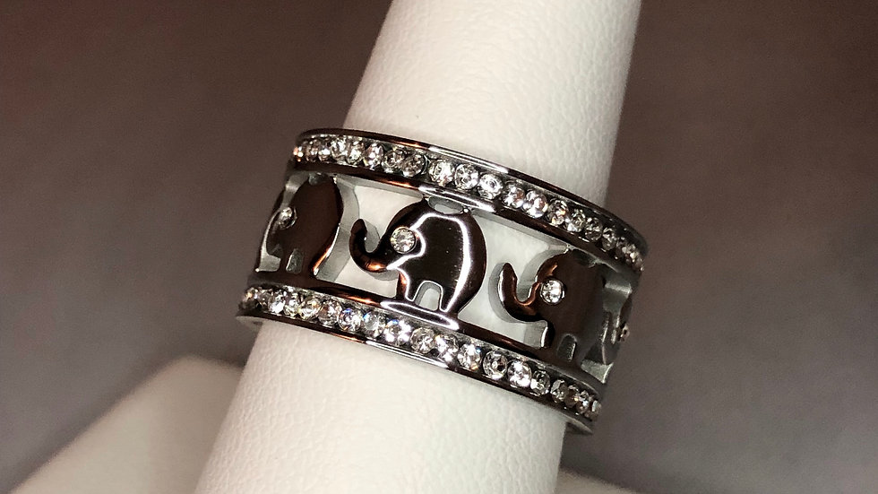 Silver Elephant Infinity Ring
