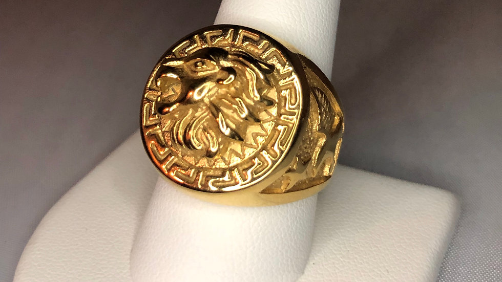 Gold Lion Coin Ring