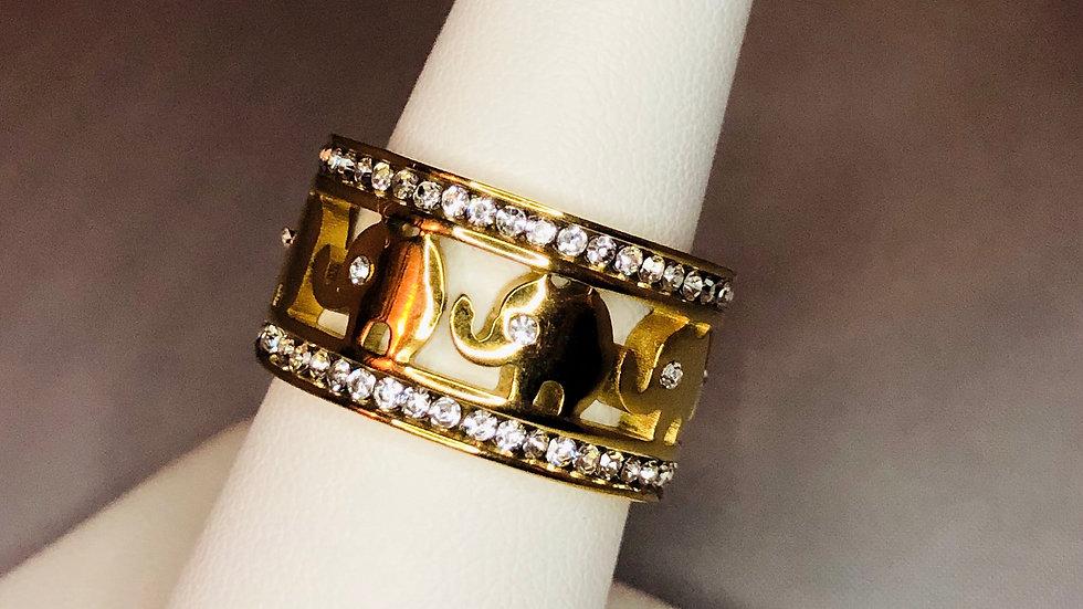 Gold Elephant Band Ring