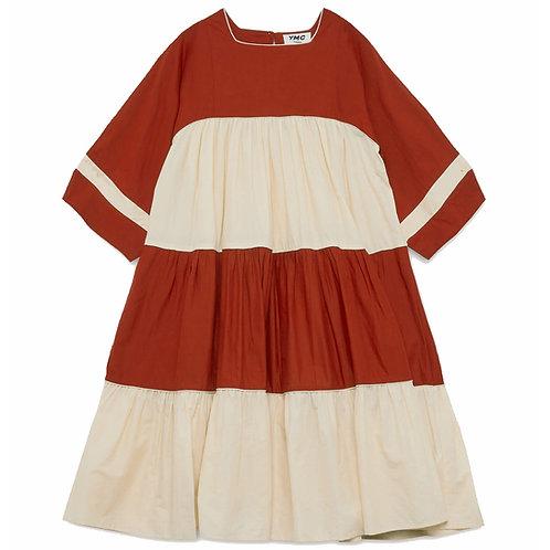 YMC NEW PALOMA DRESS ECRU RED