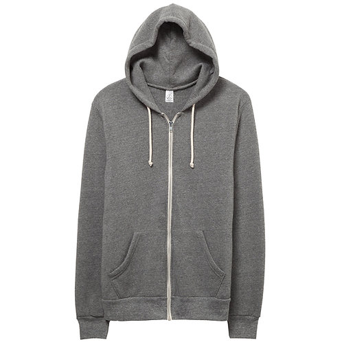 ALTERNATIVE APPAREL ROCKY ECO GREY FLEECE ZIP HOODIE